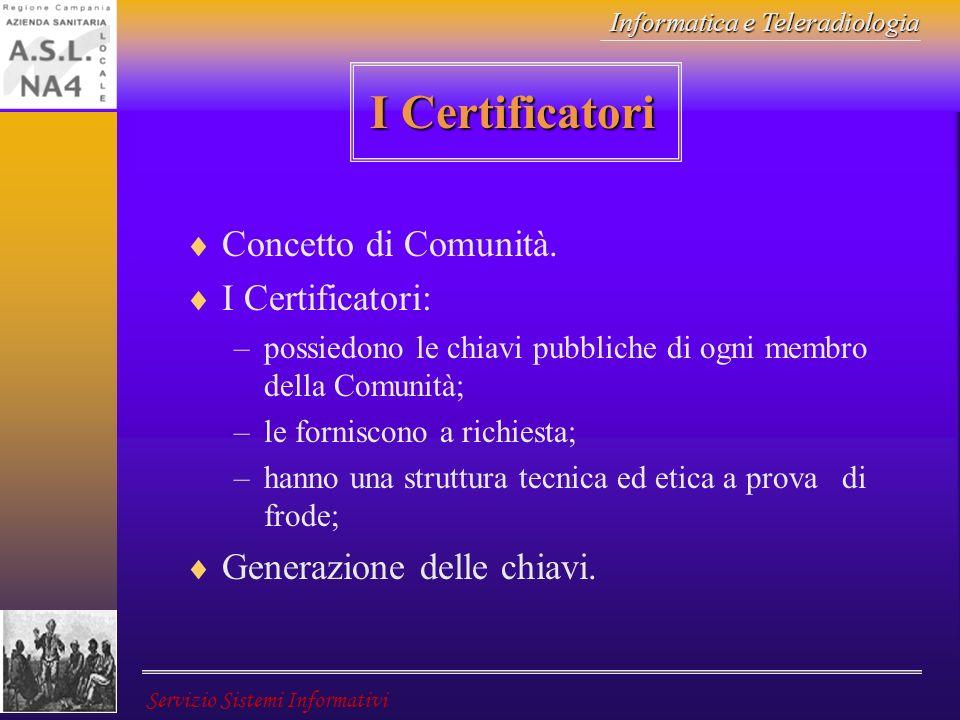 Informatica e Teleradiologia Servizio Sistemi Informativi I Certificatori Concetto di Comunità. I Certificatori: –possiedono le chiavi pubbliche di og
