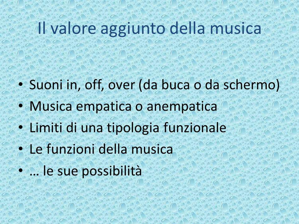 Il valore aggiunto della musica Suoni in, off, over (da buca o da schermo) Musica empatica o anempatica Limiti di una tipologia funzionale Le funzioni della musica … le sue possibilità