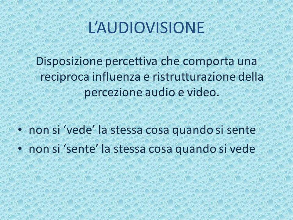 LAUDIOVISIONE Disposizione percettiva che comporta una reciproca influenza e ristrutturazione della percezione audio e video.