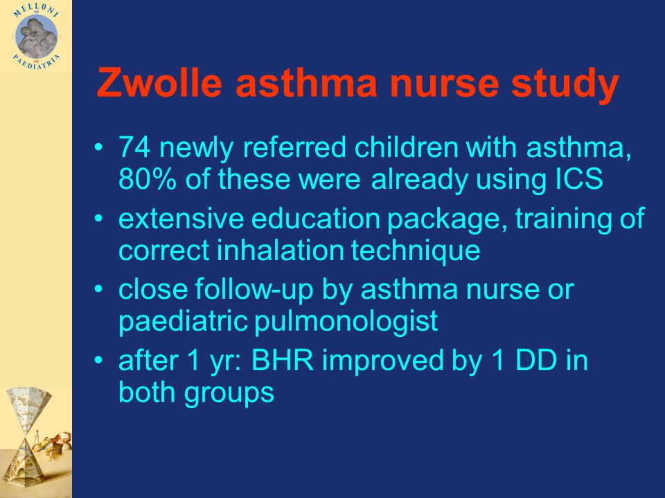 Zwolle asthma nurse study 74 newly referred children with asthma, 80% of these were already using ICS extensive education package, training of correct