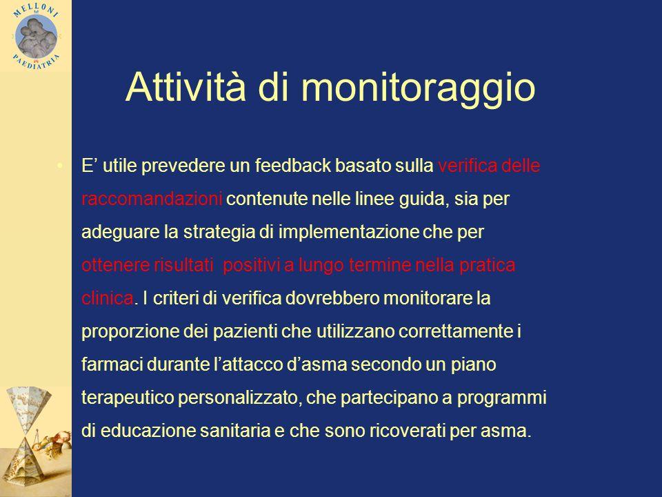 Attività di monitoraggio E utile prevedere un feedback basato sulla verifica delle raccomandazioni contenute nelle linee guida, sia per adeguare la st
