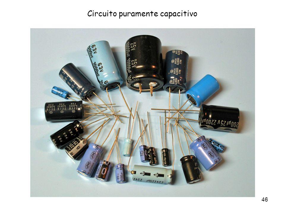 47 Circuito puramente capacitivo Tutte le volte che due parti di materiale conduttore (che chiameremo armature) vengono a trovarsi vicine e separate da materiale isolante (o dielettrico), si ha un condensatore.