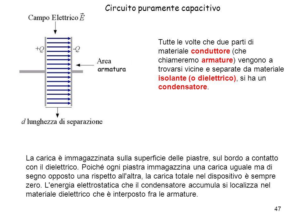 48 Circuito puramente capacitivo Per valutare se un condensatore è in grado di accumulare una quantità più o meno grande di carica si definisce la grandezza capacità C, la cui unità di misura è il Farad (F).