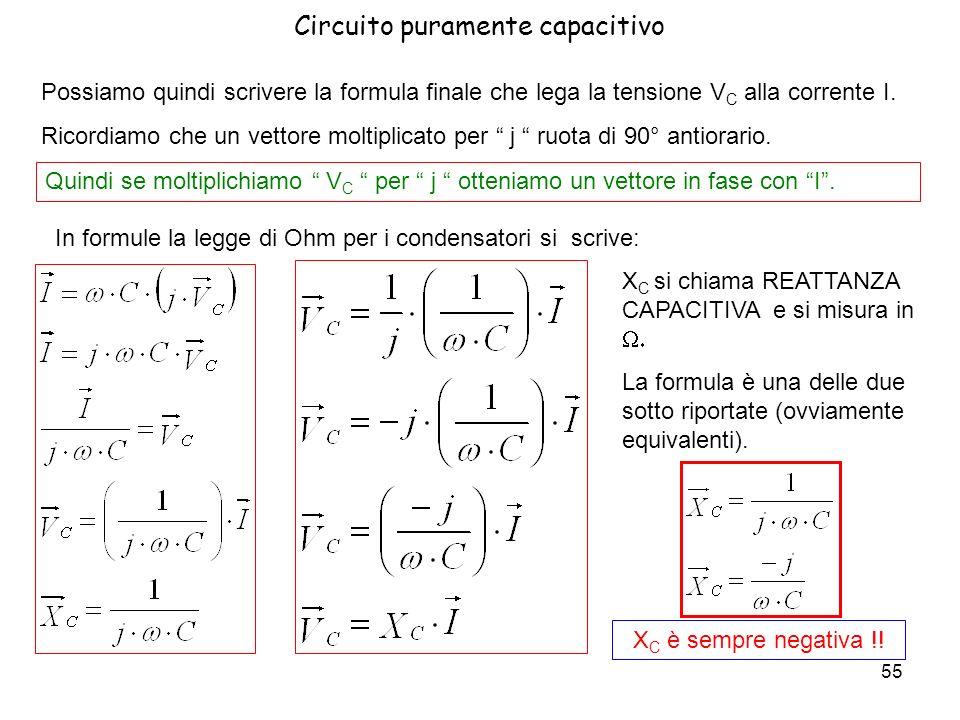 56 Linverso della reattanza capacitiva si chiama suscettanza capacitiva B C e si misura in siemens = S ( -1 ) B C = 1/ X C Circuito puramente capacitivo