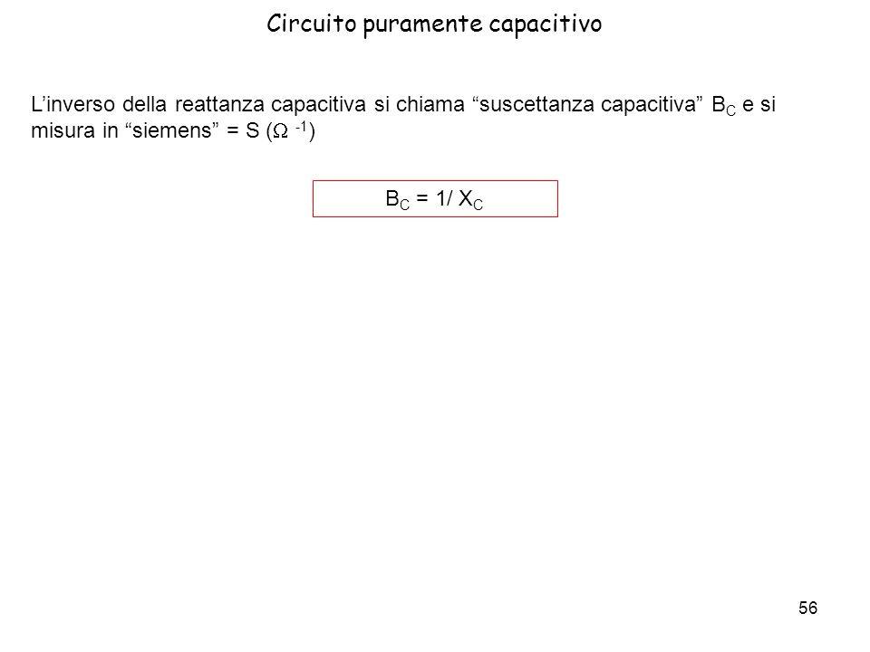 56 Linverso della reattanza capacitiva si chiama suscettanza capacitiva B C e si misura in siemens = S ( -1 ) B C = 1/ X C Circuito puramente capaciti