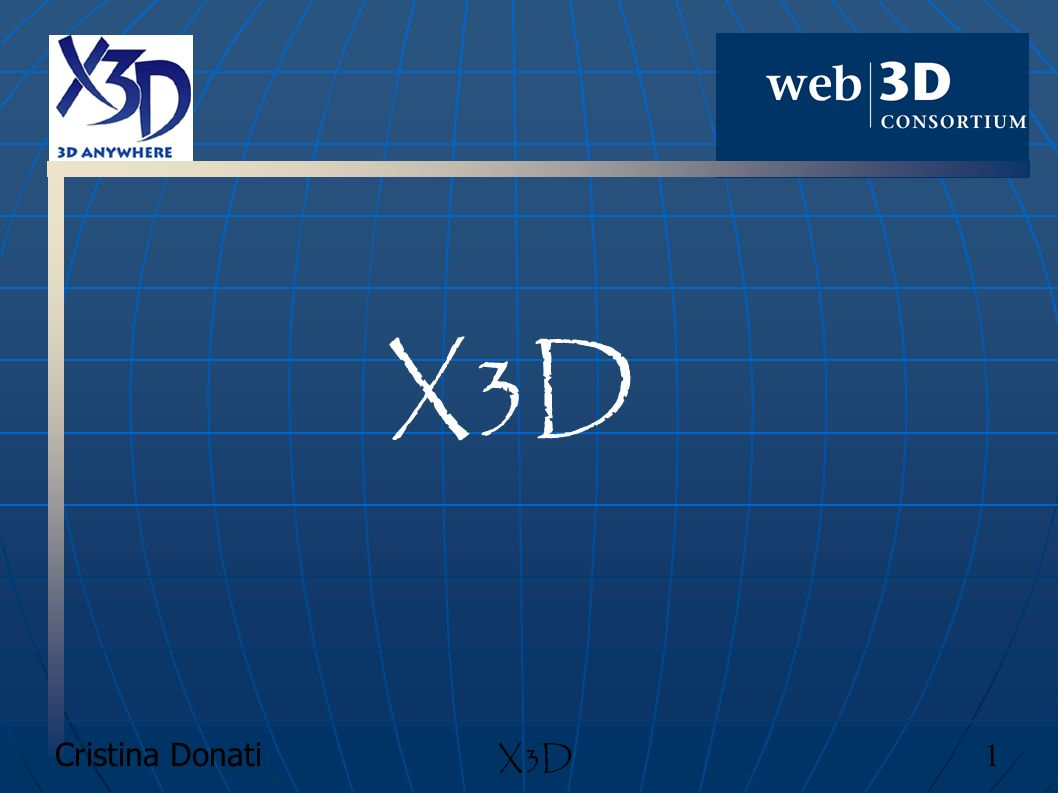 Cristina Donati 72 X3D Come creare un file X3D Dichiarazione del profilo X3D dopo lapertura del tag X3D <X3D profile= Immersive xmlns:xsd= http://www.w3.org/2001/XMLSchema-instance xsd:noNamespaceSchemaLocation= http://www.web3d.org/specifica tions/x3d-3.0.xsd > Esistono diversi tipi di profili in questo standard: Core Interchange Interactive MPEG-4 interactive Immersive Full Dichiarazione dei componenti non sempre è necessaria, serve nel caso in cui i componenti utilizzati allinterno del mondo non siano contenuti nel profilo utilizzato.