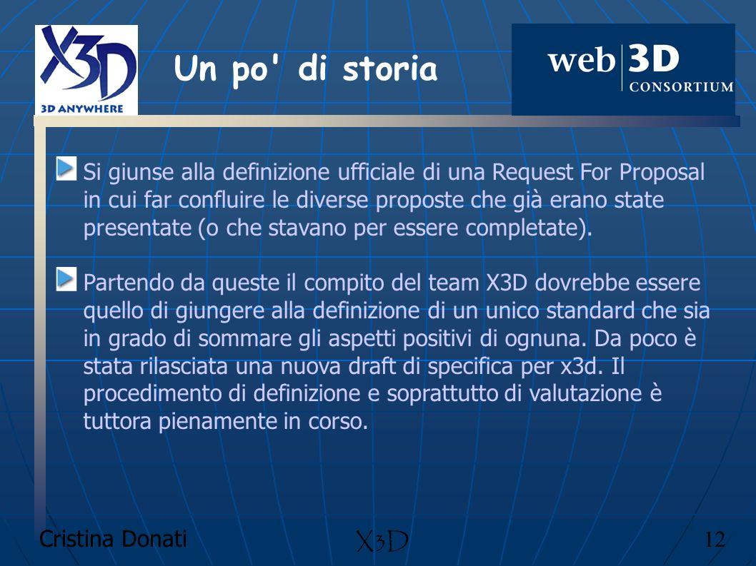 Cristina Donati 12 X3D Si giunse alla definizione ufficiale di una Request For Proposal in cui far confluire le diverse proposte che già erano state p