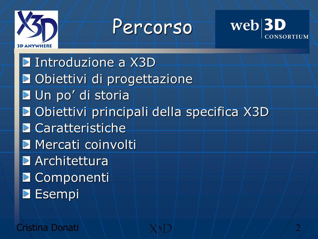 Cristina Donati 33 X3D Architettura Gli autori di contenuti X3D iniziano generalmente scrivendo un file X3D o una stringa contenente lo stato iniziale dell applicazione, contenente gli statements dichiarativi e procedurali che descrivono il suo comportamento.