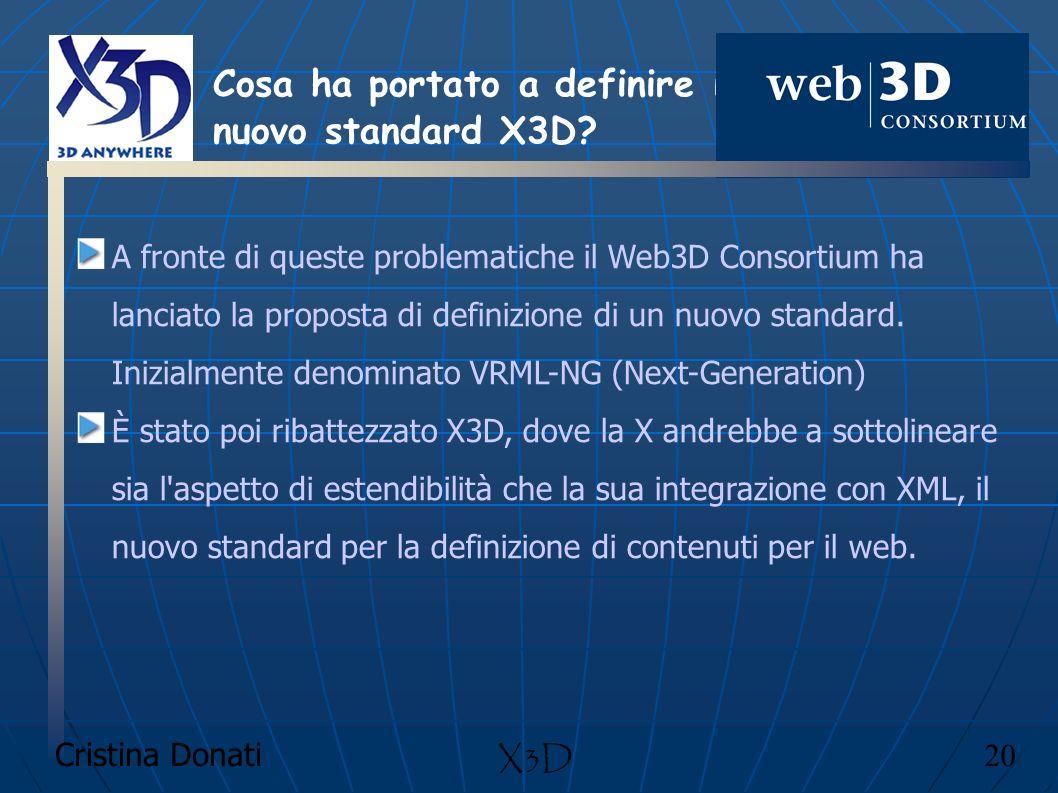 Cristina Donati 20 X3D A fronte di queste problematiche il Web3D Consortium ha lanciato la proposta di definizione di un nuovo standard. Inizialmente