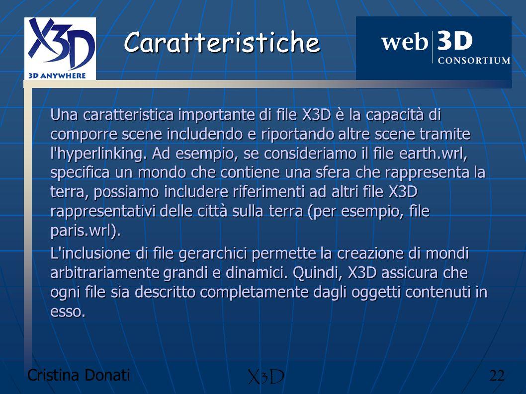 Cristina Donati 22 X3D Caratteristiche Una caratteristica importante di file X3D è la capacità di comporre scene includendo e riportando altre scene t