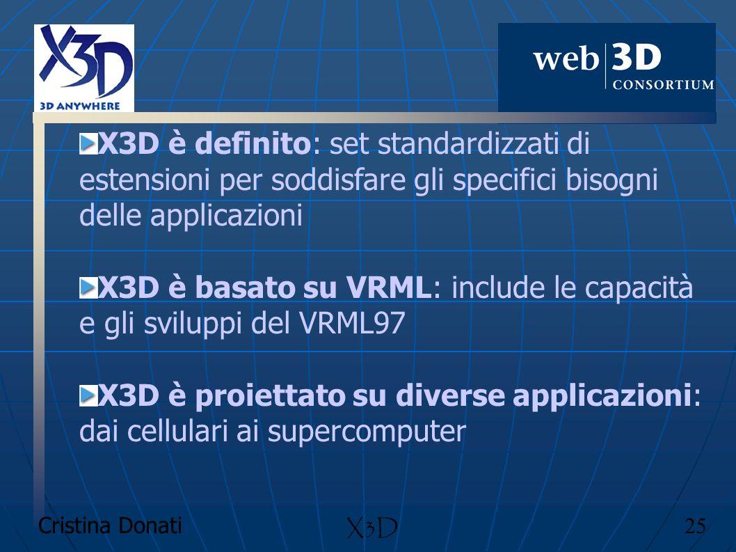 Cristina Donati 25 X3D X3D è definito: set standardizzati di estensioni per soddisfare gli specifici bisogni delle applicazioni X3D è basato su VRML:
