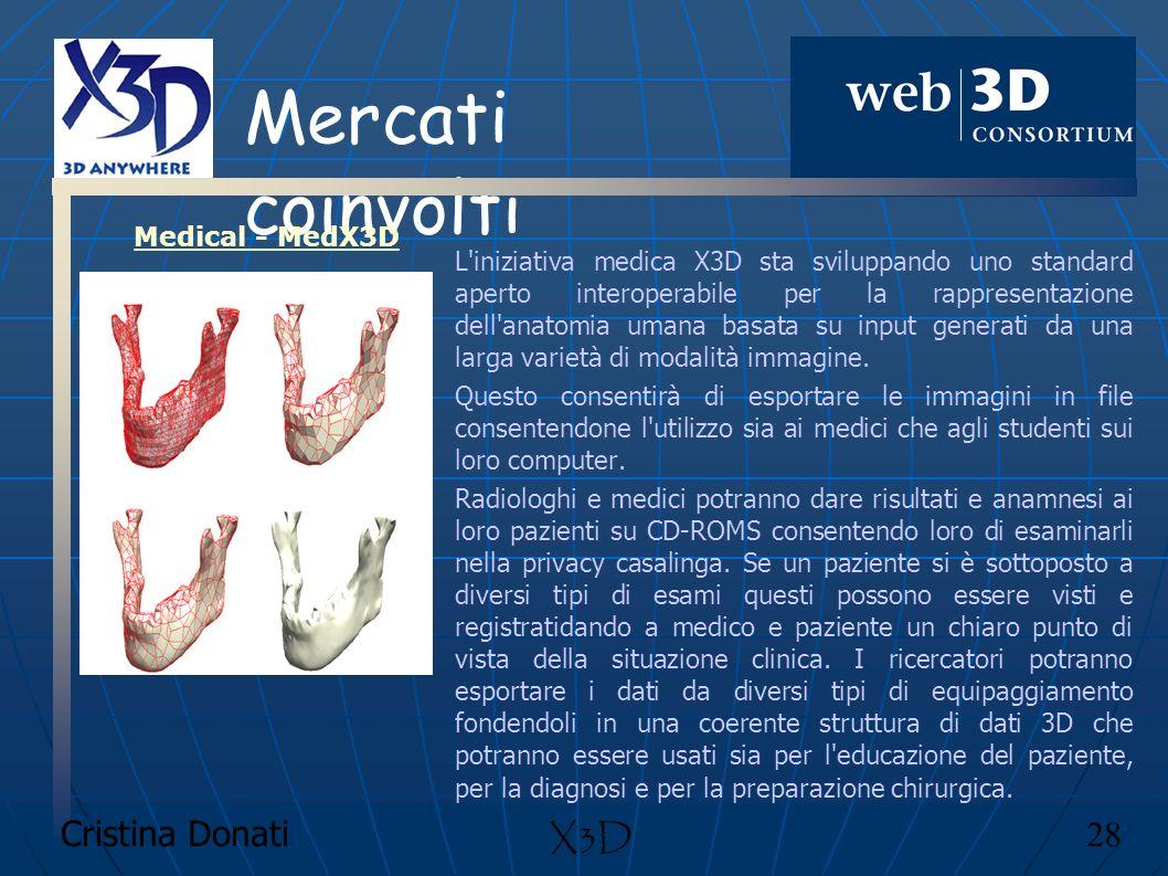 Cristina Donati 28 X3D Mercati coinvolti L'iniziativa medica X3D sta sviluppando uno standard aperto interoperabile per la rappresentazione dell'anato