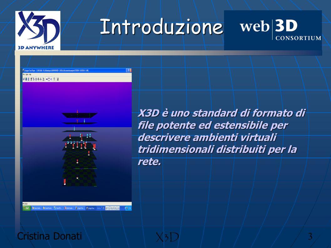 Cristina Donati 24 X3D Caratteristiche chiave X3D integra XML X3D è intercambiabile: supporta geometria, animazioni, tessiture e accensioni X3D è estensibile: i componenti possono essere aggiunti per estendere le funzionalità di applicazioni e servizi, esiste un set di Interchange con script e di proto nodes, ma ne possono essere aggiunti di nuovi