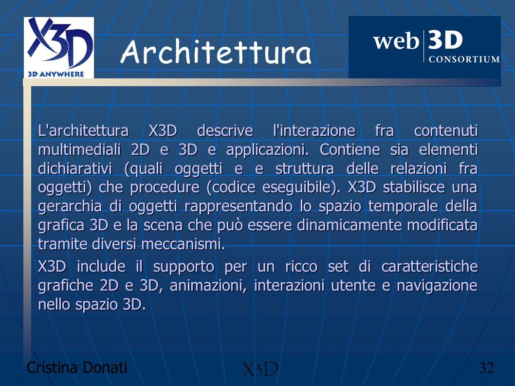 Cristina Donati 32 X3D Architettura L'architettura X3D descrive l'interazione fra contenuti multimediali 2D e 3D e applicazioni. Contiene sia elementi