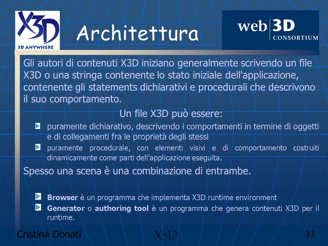 Cristina Donati 33 X3D Architettura Gli autori di contenuti X3D iniziano generalmente scrivendo un file X3D o una stringa contenente lo stato iniziale