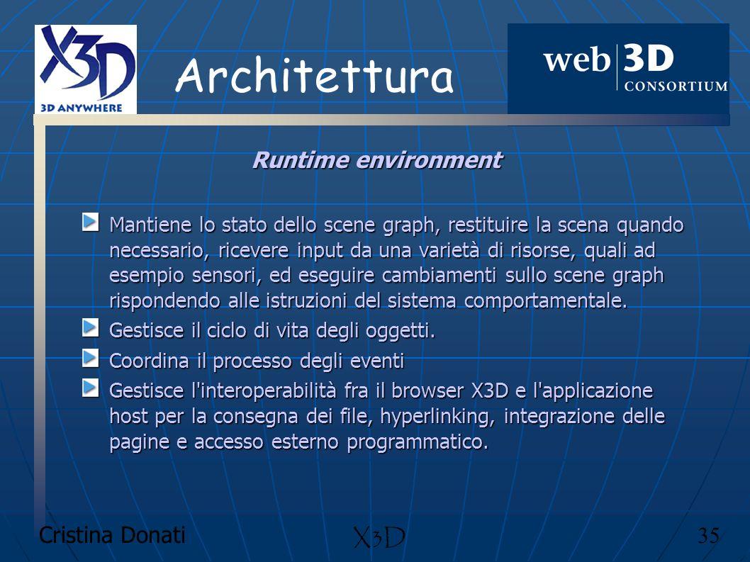 Cristina Donati 35 X3D Architettura Runtime environment Mantiene lo stato dello scene graph, restituire la scena quando necessario, ricevere input da