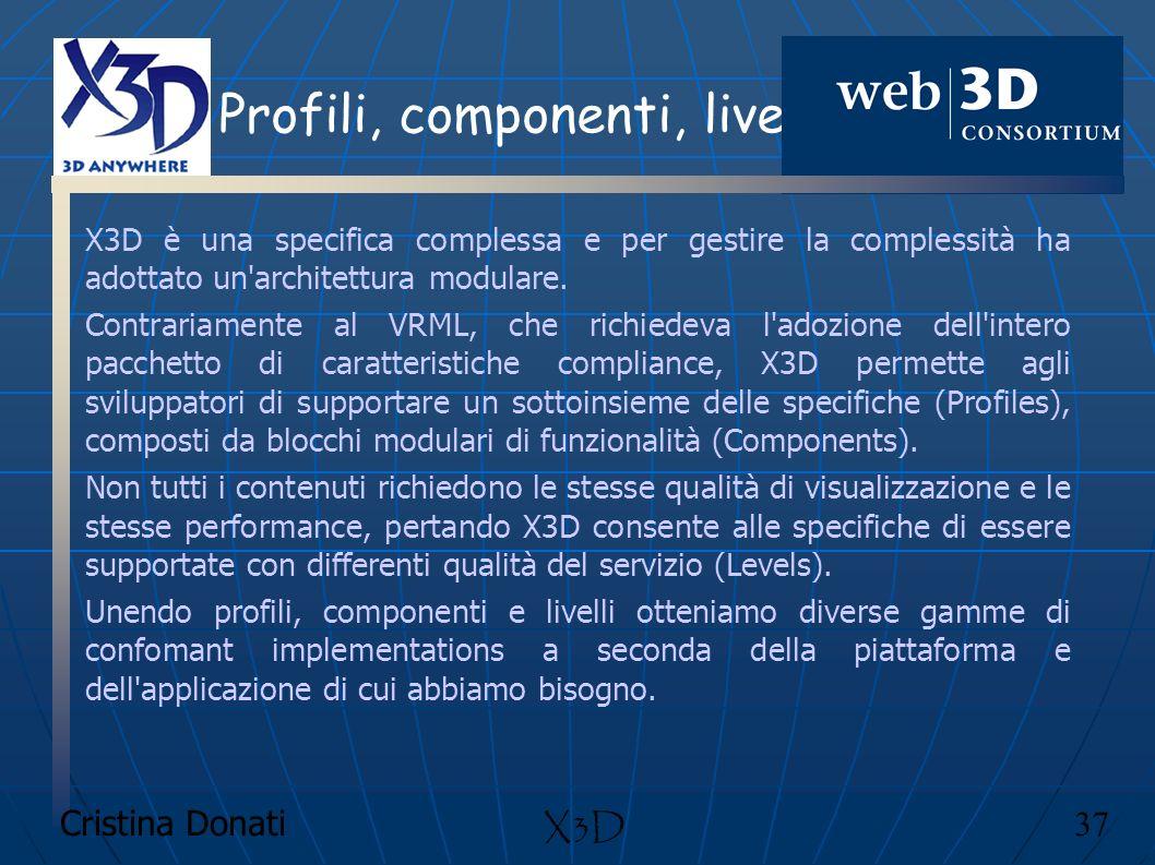 Cristina Donati 37 X3D Profili, componenti, livelli X3D è una specifica complessa e per gestire la complessità ha adottato un'architettura modulare. C