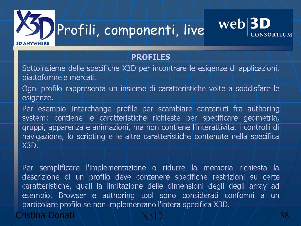 Cristina Donati 38 X3D Profili, componenti, livelli PROFILES Sottoinsieme delle specifiche X3D per incontrare le esigenze di applicazioni, piattoforme