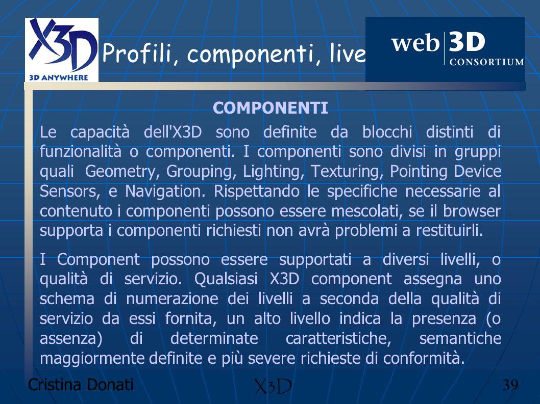 Cristina Donati 39 X3D Profili, componenti, livelli COMPONENTI Le capacità dell'X3D sono definite da blocchi distinti di funzionalità o componenti. I