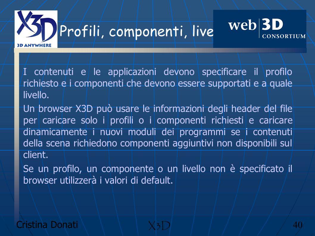 Cristina Donati 40 X3D Profili, componenti, livelli I contenuti e le applicazioni devono specificare il profilo richiesto e i componenti che devono es