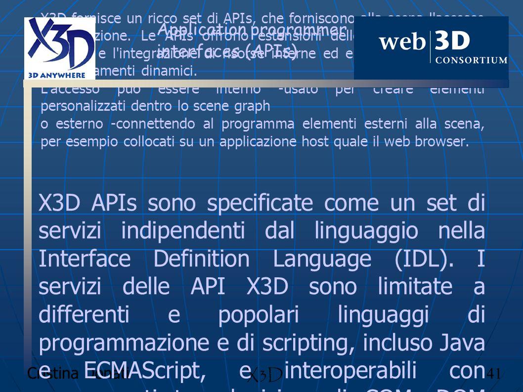 Cristina Donati 41 X3D Application programmer interfaces (APIs) X3D fornisce un ricco set di APIs, che forniscono alla scena l'accesso all'esecuzione.