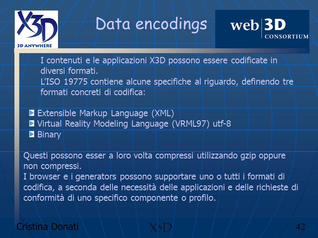 Cristina Donati 42 X3D Data encodings I contenuti e le applicazioni X3D possono essere codificate in diversi formati. L'ISO 19775 contiene alcune spec