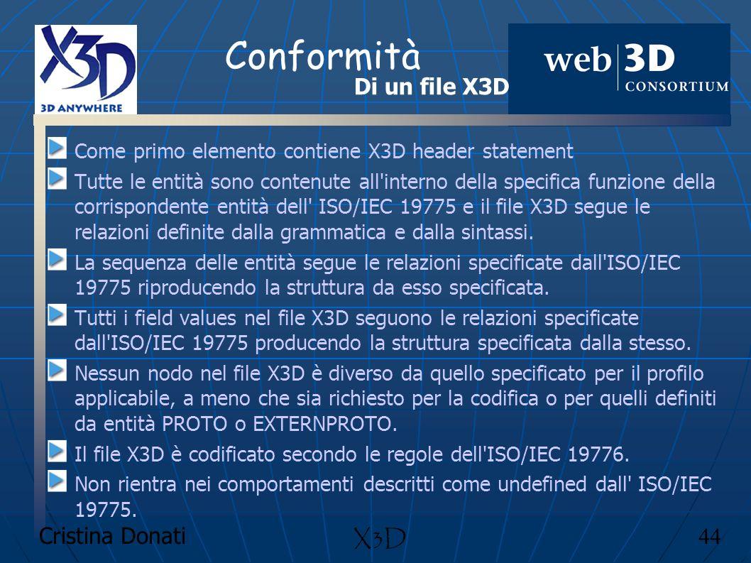 Cristina Donati 44 X3D Conformità Come primo elemento contiene X3D header statement Tutte le entità sono contenute all'interno della specifica funzion