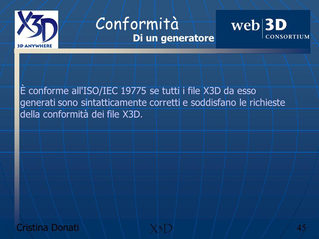 Cristina Donati 45 X3D Conformità. È conforme all'ISO/IEC 19775 se tutti i file X3D da esso generati sono sintatticamente corretti e soddisfano le ric