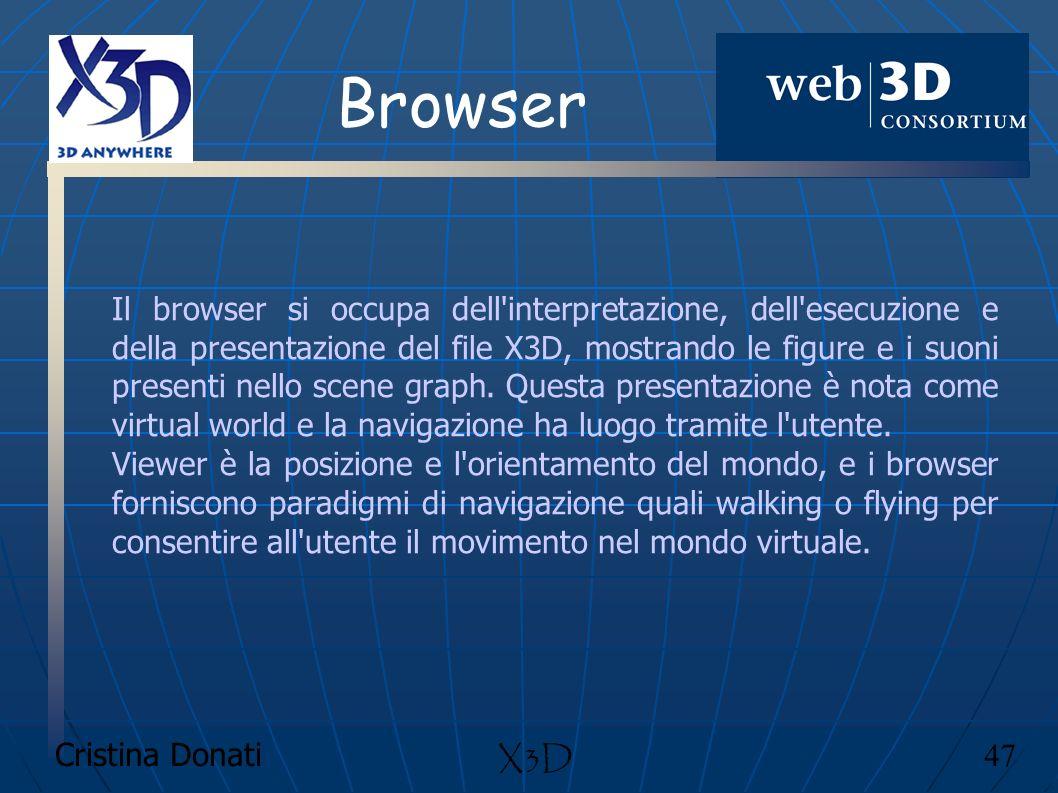 Cristina Donati 47 X3D Browser Il browser si occupa dell'interpretazione, dell'esecuzione e della presentazione del file X3D, mostrando le figure e i
