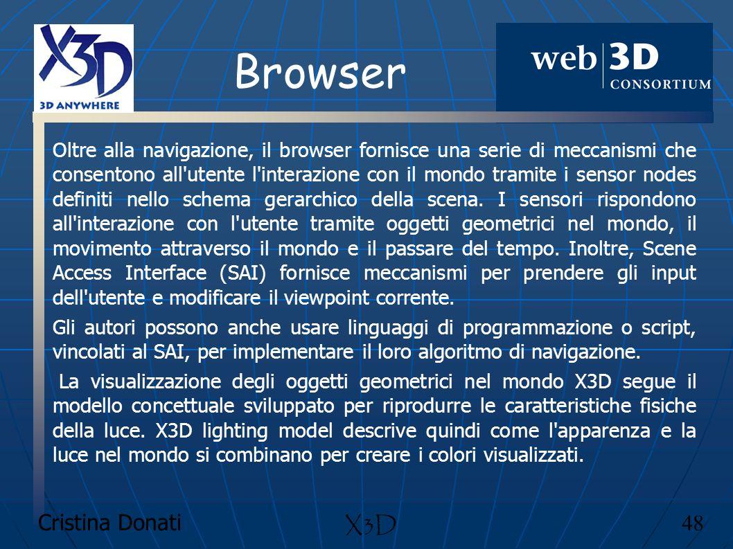 Cristina Donati 48 X3D Browser Oltre alla navigazione, il browser fornisce una serie di meccanismi che consentono all'utente l'interazione con il mond