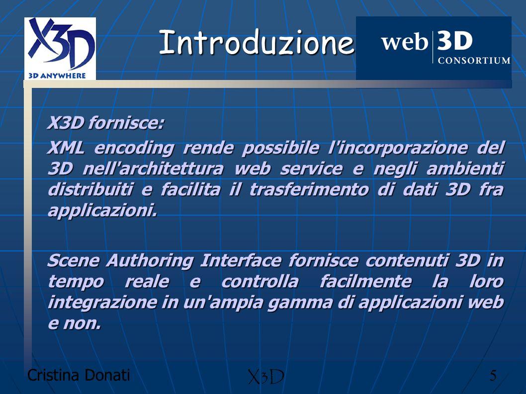 Cristina Donati 6 X3D Introduzione X3D è il successore di VRML (standard ISO -ISO/IEC 14772- 1:1997- per web basati su grafica 3D) VRML Il campo di azione dell X3D va a sovrapporsi al già affermato VRML97.