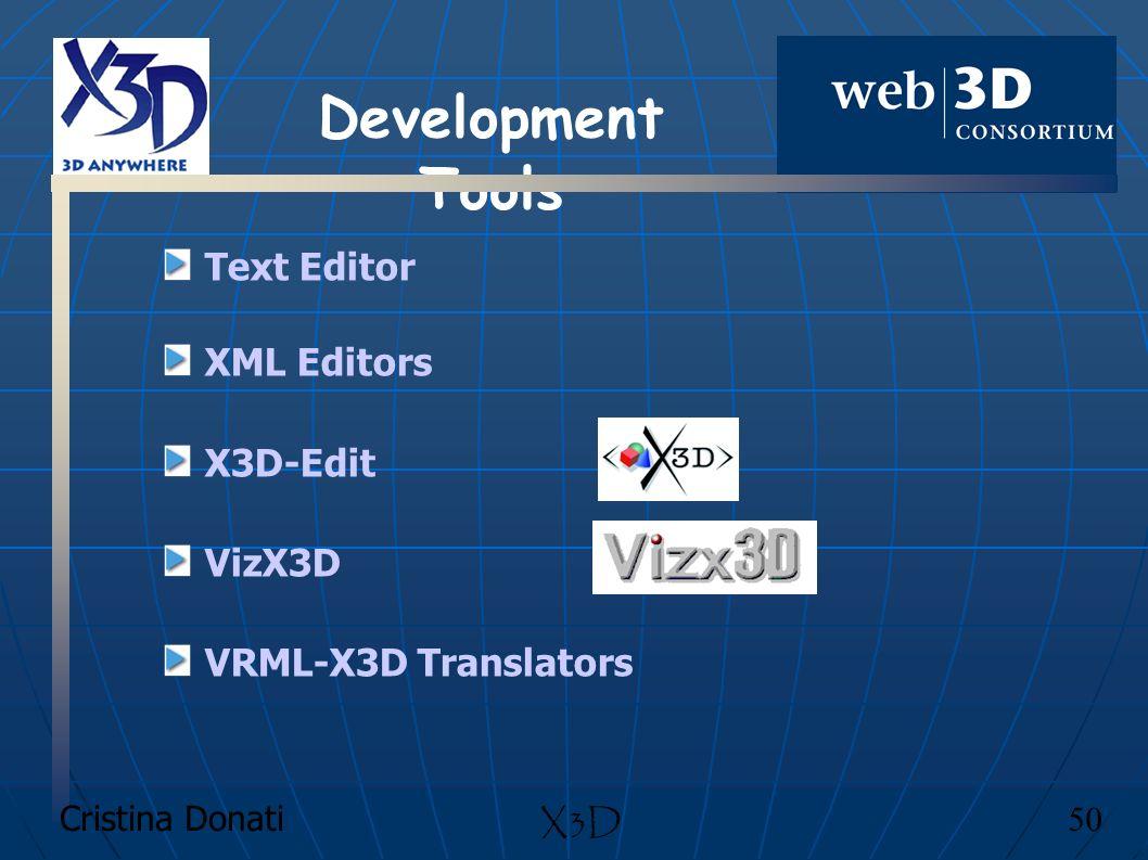Cristina Donati 50 X3D Text Editor XML Editors X3D-Edit VizX3D VRML-X3D Translators Development Tools