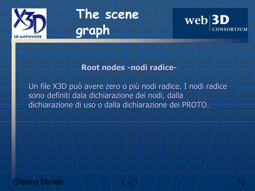 Cristina Donati 52 X3D Root nodes -nodi radice- Un file X3D può avere zero o più nodi radice. I nodi radice sono definiti dala dichiarazione dei nodi,