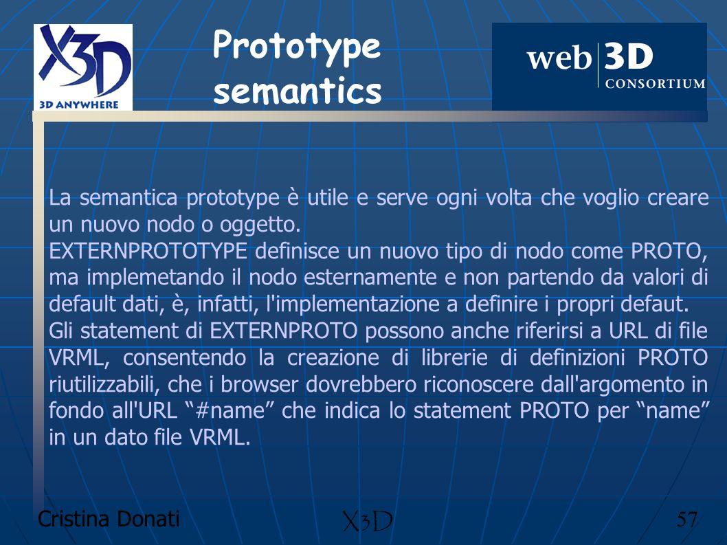 Cristina Donati 57 X3D La semantica prototype è utile e serve ogni volta che voglio creare un nuovo nodo o oggetto. EXTERNPROTOTYPE definisce un nuovo