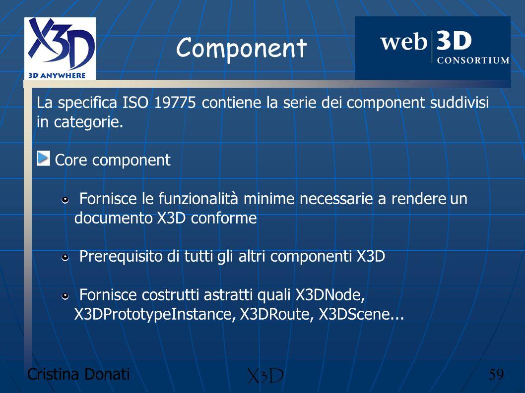 Cristina Donati 59 X3D Component La specifica ISO 19775 contiene la serie dei component suddivisi in categorie. Core component Fornisce le funzionalit