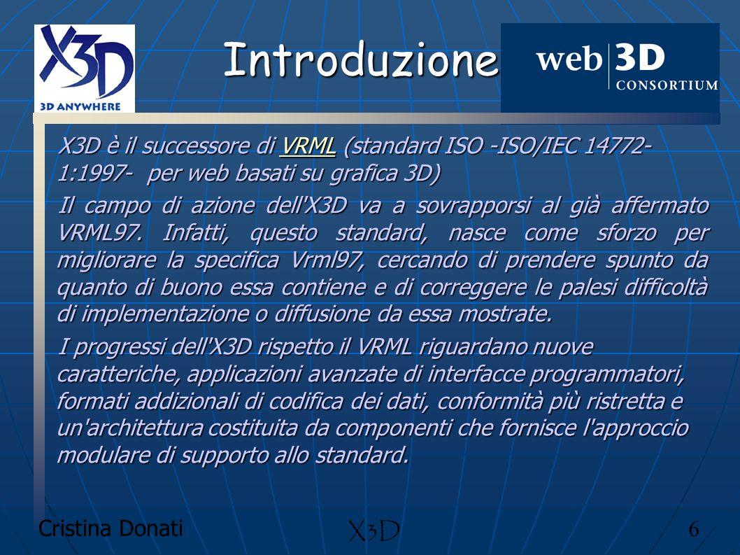 Cristina Donati 6 X3D Introduzione X3D è il successore di VRML (standard ISO -ISO/IEC 14772- 1:1997- per web basati su grafica 3D) VRML Il campo di az