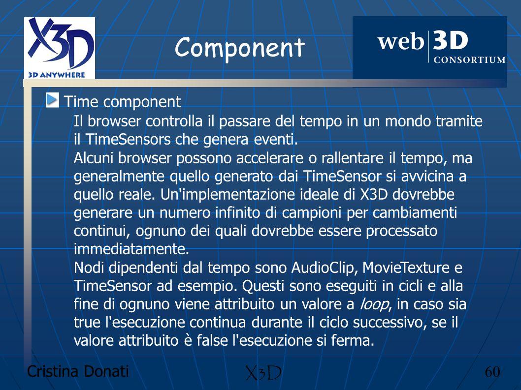 Cristina Donati 60 X3D Component Time component Il browser controlla il passare del tempo in un mondo tramite il TimeSensors che genera eventi. Alcuni