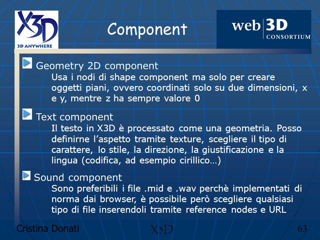 Cristina Donati 63 X3D Component Geometry 2D component Usa i nodi di shape component ma solo per creare oggetti piani, ovvero coordinati solo su due d