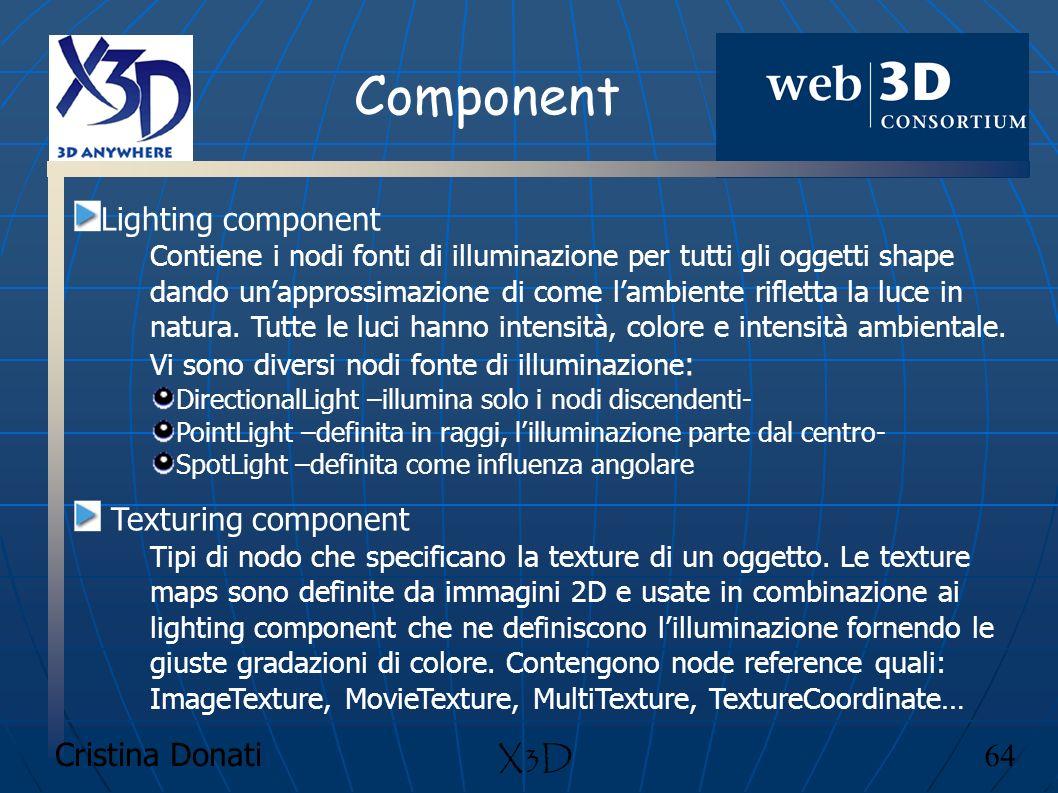 Cristina Donati 64 X3D Component Lighting component Contiene i nodi fonti di illuminazione per tutti gli oggetti shape dando unapprossimazione di come