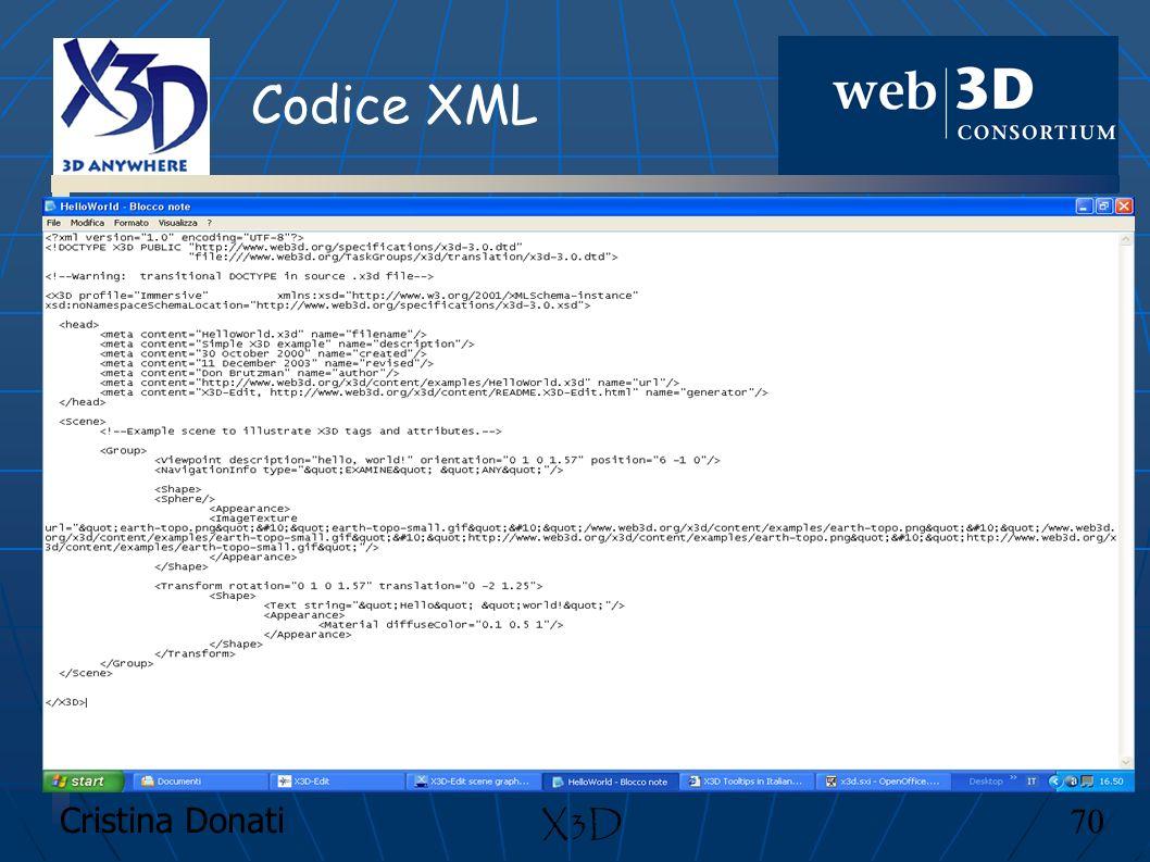 Cristina Donati 70 X3D Codice XML