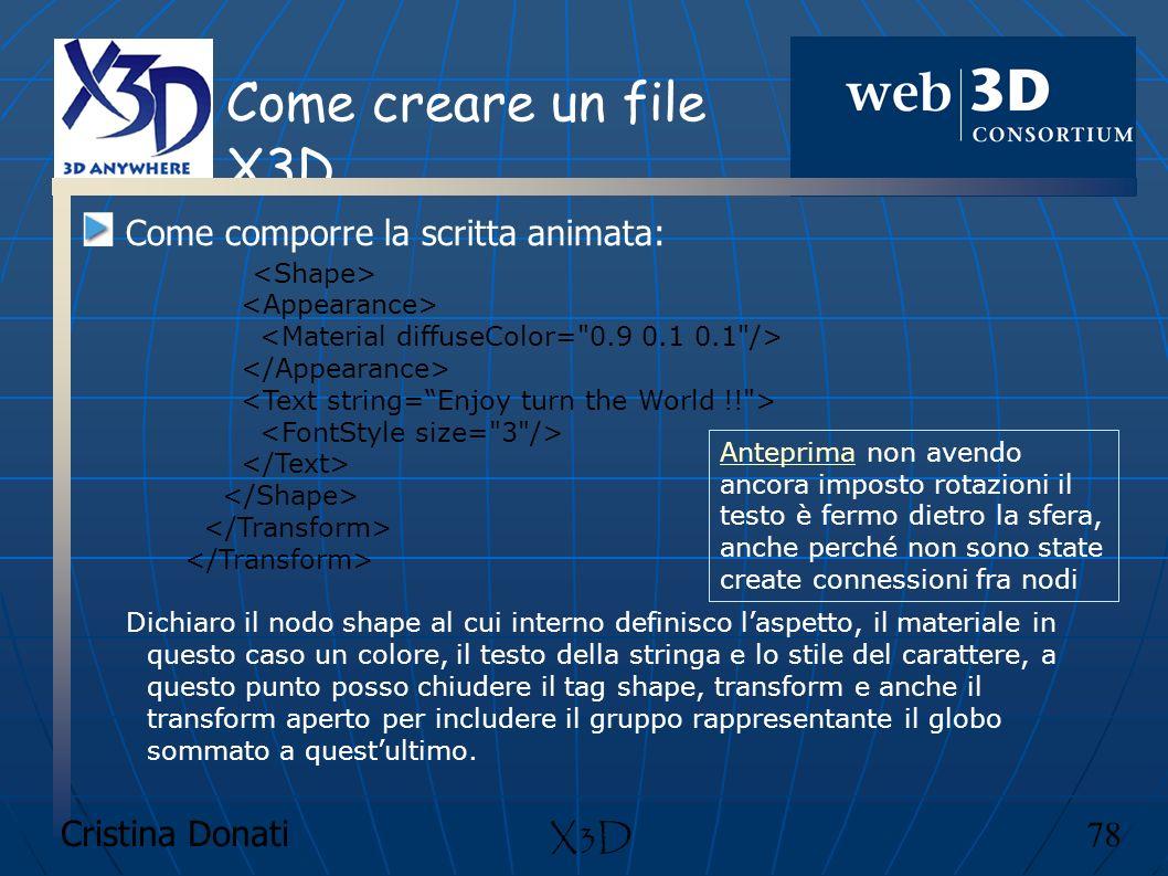 Cristina Donati 78 X3D Come creare un file X3D Come comporre la scritta animata: Dichiaro il nodo shape al cui interno definisco laspetto, il material