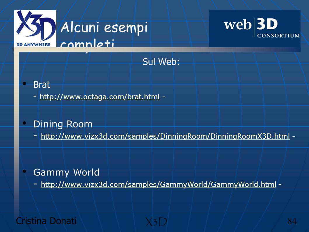 Cristina Donati 84 X3D Alcuni esempi completi Sul Web: Brat - http://www.octaga.com/brat.html - http://www.octaga.com/brat.html Dining Room - http://w