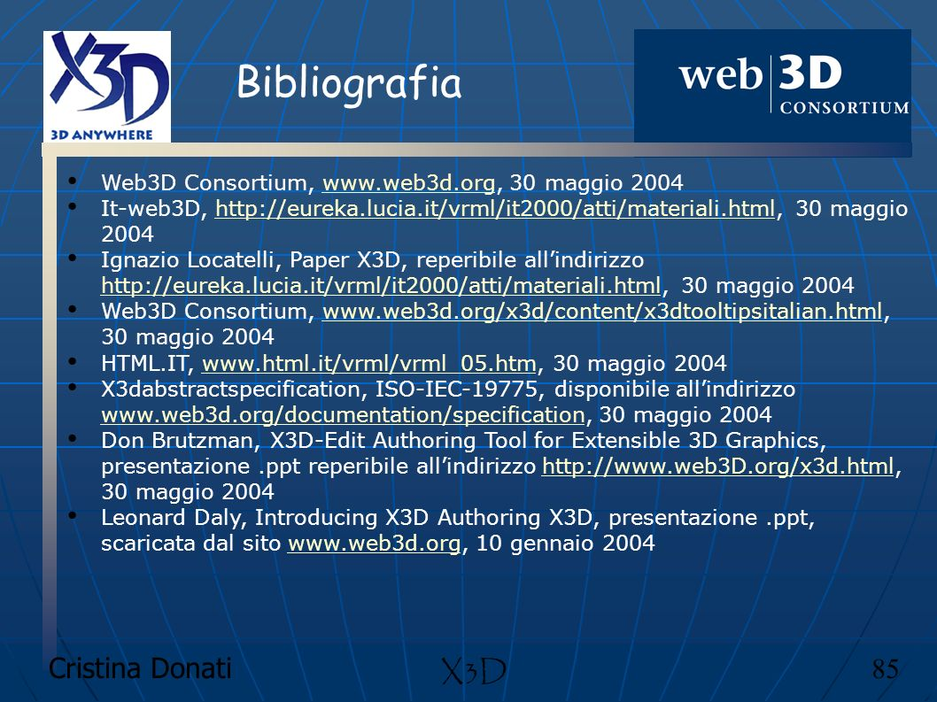 Cristina Donati 85 X3D Bibliografia Web3D Consortium, www.web3d.org, 30 maggio 2004www.web3d.org It-web3D, http://eureka.lucia.it/vrml/it2000/atti/mat