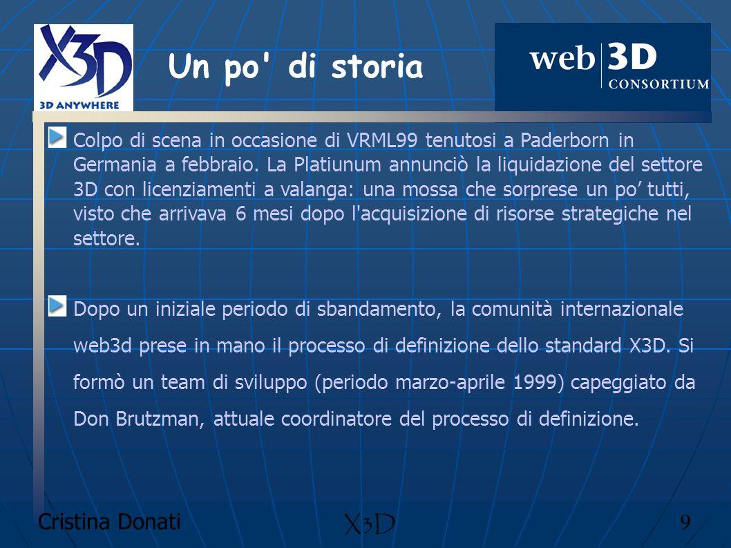 Cristina Donati 60 X3D Component Time component Il browser controlla il passare del tempo in un mondo tramite il TimeSensors che genera eventi.