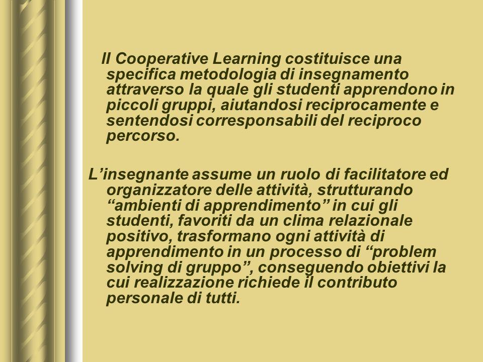 lI Cooperative Learning costituisce una specifica metodologia di insegnamento attraverso la quale gli studenti apprendono in piccoli gruppi, aiutandosi reciprocamente e sentendosi corresponsabili del reciproco percorso.