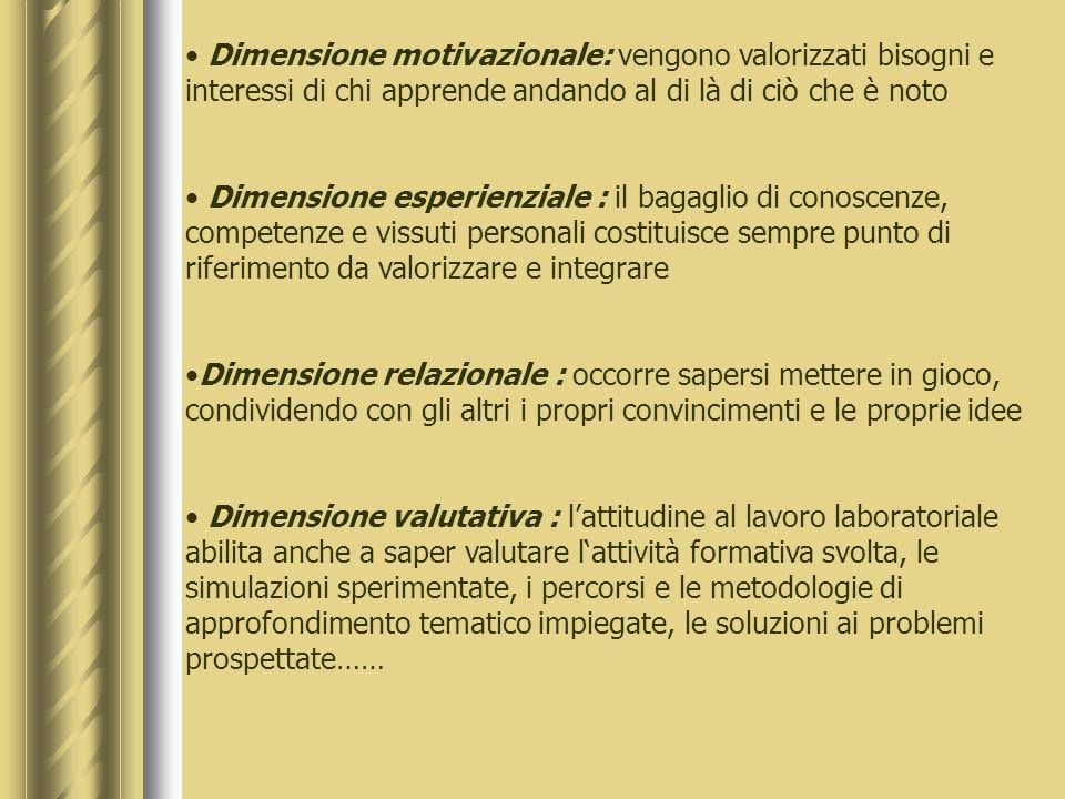 Dimensione motivazionale: vengono valorizzati bisogni e interessi di chi apprende andando al di là di ciò che è noto Dimensione esperienziale : il bagaglio di conoscenze, competenze e vissuti personali costituisce sempre punto di riferimento da valorizzare e integrare Dimensione relazionale : occorre sapersi mettere in gioco, condividendo con gli altri i propri convincimenti e le proprie idee Dimensione valutativa : lattitudine al lavoro laboratoriale abilita anche a saper valutare lattività formativa svolta, le simulazioni sperimentate, i percorsi e le metodologie di approfondimento tematico impiegate, le soluzioni ai problemi prospettate……