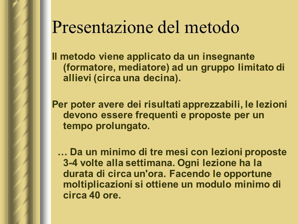 Presentazione del metodo Il metodo viene applicato da un insegnante (formatore, mediatore) ad un gruppo limitato di allievi (circa una decina).