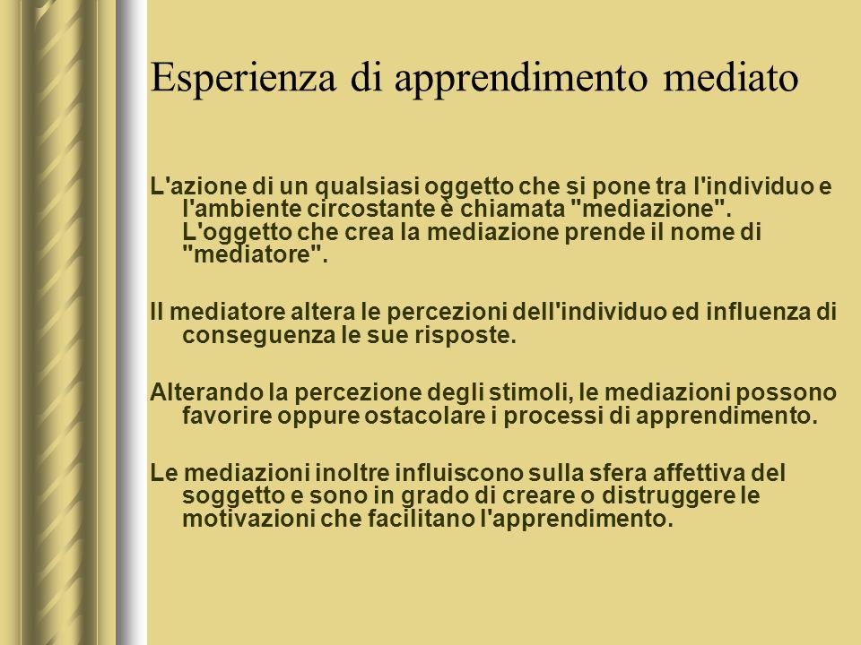 Esperienza di apprendimento mediato L azione di un qualsiasi oggetto che si pone tra l individuo e l ambiente circostante è chiamata mediazione .