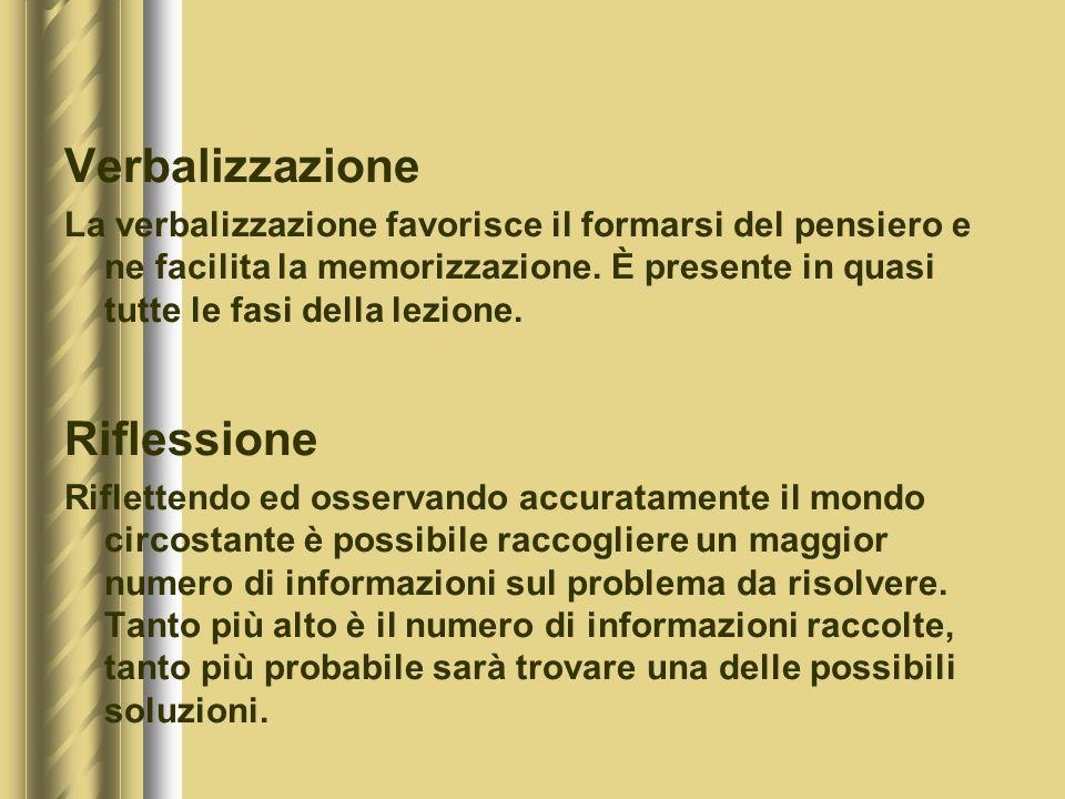 Verbalizzazione La verbalizzazione favorisce il formarsi del pensiero e ne facilita la memorizzazione.