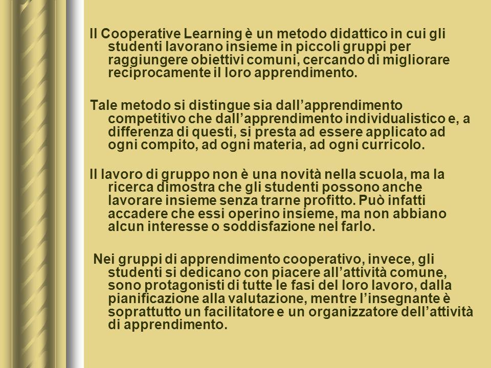 Il Cooperative Learning è un metodo didattico in cui gli studenti lavorano insieme in piccoli gruppi per raggiungere obiettivi comuni, cercando di migliorare reciprocamente il loro apprendimento.